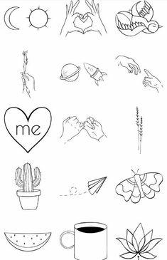 Sketches of small tattoos. Ideas minimalism Sketches of small tattoos. Ideas minimalism Sketches of small tattoos. Mini Drawings, Doodle Drawings, Easy Drawings, Doodle Art, Tattoo Drawings, Cute Small Drawings, Mini Tattoos, Cute Tattoos, Body Art Tattoos