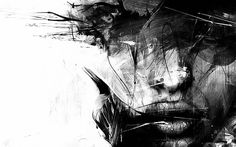 """""""Baubauhaus"""" - Russ Mills {abstract female head woman face portrait b+w painting} Abstract Canvas, Oil Painting On Canvas, Abstract Faces, Wallpaper 1920x1200, Dark Wallpaper, Watch Wallpaper, Fantasy Sketch, Final Fantasy, Degas Paintings"""