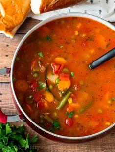 Vegetable Soup Recipe Frozen Vegetable Soup Recipe, Easy Vegetable Soup, Tomato Vegetable, Onion Soup Recipes, Meat Recipes, Cooking Recipes, Crockpot Recipes, Dinner Recipes