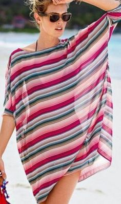 Love these Colors! Comfy Casual Stylish Round Neck Half Sleeve Striped Sheer See-Through Cover-Up #Comfy #Casual #Bold #Pink #Blue #Stripes #Summer #Beach #CoverUp