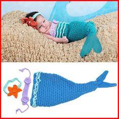 Wholesale 50% Cheap 2015 Handmade Cartoon Cute Blue Mermaid Infant ...