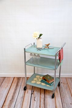 Vintage Mint Metal Rolling Serving Cart by sugarSCOUT on Etsy, $78.00