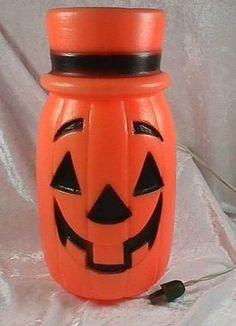 Vintage Halloween Blow Mold ~ Pumpkin Jack O' Lantern w/ Hat