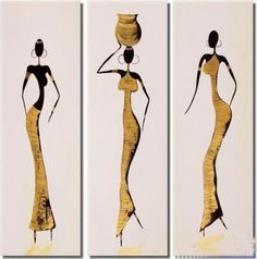THREE AFRICAN WOMEN STAND IN RADIANT BEAUTY - THIS ABSTRACT MODERN ART PIECE IS HAND PAINTED, FRAMED AND COMES IN 3 PIECES. - OIL OR ACRYLIC MEDIUM ON CANVAS - FREE SHIPPING SIZE: 20x60cmx3(8x24inchx3