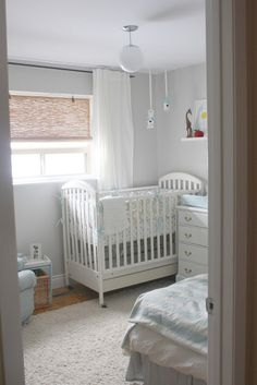 Baby blue taupe and white baby nursery decor with homemade crib bedding set. To say that I am knocked out by this baby boy's adorable blue and taupe nursery is an understatement. From the faux table that Jane scored at Goodwill Taupe Nursery, Grey White Nursery, Nursery Paint Colors, Nursery Room, Bright Nursery, Bher Paint Colors, Wall Colors, Nursery Blinds, Nursery Decor