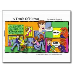 """A Touch of Humor"" Mall Chair Massage Comic http://www.zazzle.com/TigerLilyStudios?rf=238891780775066757"