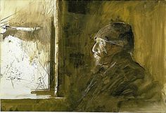 Andrew Wyeth (1917 — 2009, USA) Waiting for McGinley. 1962 In Tom Clark's house. watercolor. 14 3/4 x 21 3/4 in. © Hirshhom Collection, New York