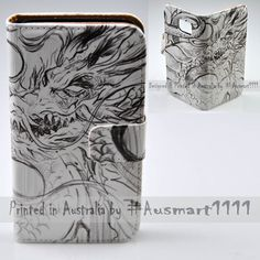 For Huawei Mate 9 8 Lite - Dragon Stencil Flip Wallet Phone Case Cover