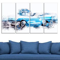 Baby Blue Vintage Car' 4-piece Gallery-wrapped Canvas - Overstock™ Shopping - Top Rated DESIGN ART Canvas