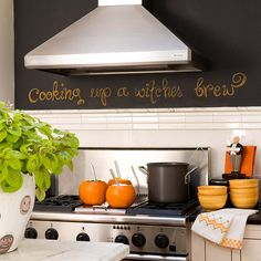 chalkboard paint above the backsplash over the stove