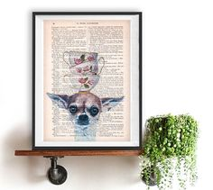 Funny Chihuahua Art Print, Stacking teacups on dog, Animal Painting poster dog typography recycled book print Birthday Print Funny Chihuahua, Chihuahua Art, Funny Prints, Animal Paintings, French Antiques, Tea Cups, Typography, Fine Art, Art Prints