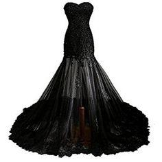 Fair Lady Gothic Vintage Mermaid Prom Dress Long Beaded Lace Black Wedding Dress for Bride