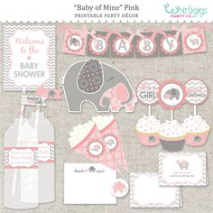 DIY Elephant Baby Shower Printable PDF Party por whirligigspartyco