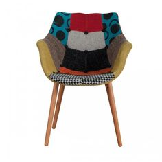 Fauteuil design patchwork http://www.atylia.com/chaise-cuisine-design/15047-chaise-design-patchwork-romy-multicolore-x2.html
