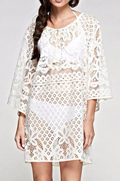 2850ae0556c53 Vintage inspired border lace cover up with shirred neckline and tie  details. The Kim Cover
