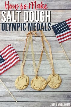 Celebrate the Olympics by making fun DIY Salt Dough Olympic Medals with your kids! They're a fun craft for children of all ages and they'll love wearing their very own gold medals as you watch favorite athletes compete! Diy Crafts For Kids Easy, Paper Plate Crafts For Kids, Crafts To Do, Fun Diy, Kids Crafts, Preschool Projects, Preschool Ideas, Diy Projects, Olympic Medal Craft