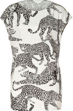 Saloni Black White Leopard Print Silk Lola Top Saloni