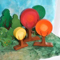Wooden Toy, Autumn Art Tree Set - Landscape Play / Waldorf Toy on Etsy, $45.00