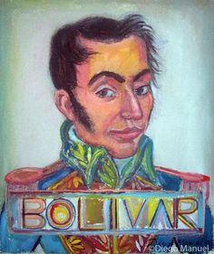 Simn Bolivar, acrylic on canvas, 27 x 32 cm. 2012 . Cuadro en venta de la Serie Historia Argentina del artista plastico Diego Manuel