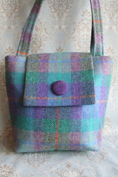 Scottish Harris Tweed Tote Bag in purple and green by TweedieBags, £55.00