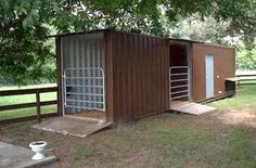 I wish I still had my horse 😔 ISBU Horse Stalls which are great for one horse owners or for a shed out in a turnout field Horse Shed, Horse Barn Plans, Horse Stables, Horse Farms, Horse Shelter, Goat Barn, Building A Container Home, Barns Sheds, Dream Barn