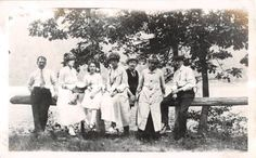 Photograph Snapshot Vintage Black and White: Family Dress Lake Shore 1920's
