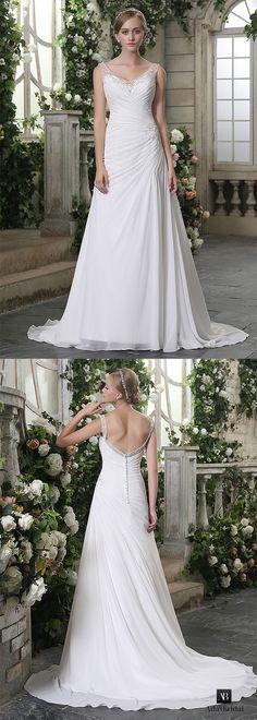 Elegant chiffon v-neck neckline a-line wedding dresses. This wedding gown is a timeless choice for your special day. (WWD12723) - Adasbridal.com