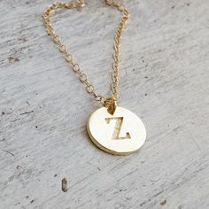 Personalized Initial necklace gold disc initial necklace by Avnis