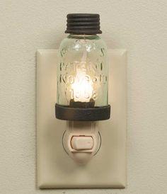 Mason Jar Night Light - Rustic Brown