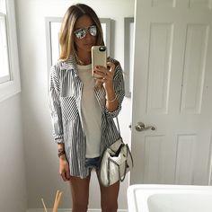 Arielle Noa Charnas @somethingnavy Striped button do...Instagram photo | Websta (Webstagram)