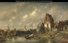 Figures In A River Landscape, A Town Beyond - Charles Henri Leickert