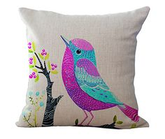"Cotton Linen Square 18"" European Style Cushion Home Throw Pillows Birds Flowers Style Signature Cotton Funda Cojin Cushion-in Cushion from Home, Kitchen & Garden on Aliexpress.com 