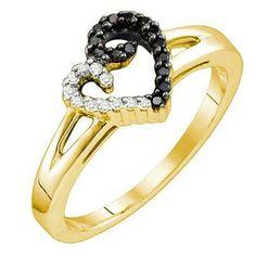 Thanks for Sharing!  0.17 Carat (ctw) 18k Yellow Gold Plated Sterling Silver Black & White Diamond Ladies Heart Promise Ring - Dazzling Rock #https://www.pinterest.com/dazzlingrock/