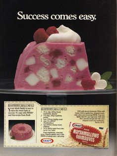 Ad Success comes easy for a Raspberry Halo Mold Love the inclusion of cubes of angel food cake in this lovely recipes for Raspberry Halo Jell-O.Love the inclusion of cubes of angel food cake in this lovely recipes for Raspberry Halo Jell-O. Jello Cake, Jello Desserts, Jello Recipes, Old Recipes, Vintage Recipes, Delicious Desserts, Cake Recipes, Dessert Recipes, Cooking Recipes