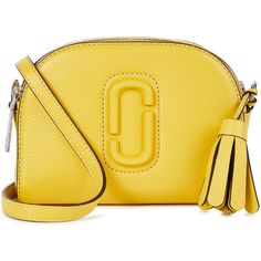 Marc Jacobs Shutter Small Yellow Leather Shoulder Bag (1,625 MYR) ❤ liked on Polyvore featuring bags, handbags, shoulder bags, genuine leather purse, tassel purse, yellow leather purse, real leather purses and leather shoulder bag