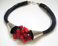Coral Multi Strand Black Cord Statement Necklace Silver Hammered Contemporary Coral and Cord Modern Necklace