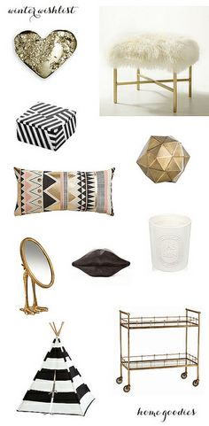 black gold and white home accessories