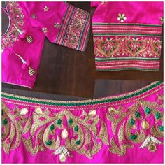 Pattu Saree Blouse Designs, Blouse Designs Silk, Bridal Blouse Designs, Blouse Patterns, Dress Designs, Flower Designs, Hand Embroidery Patterns Free, Embroidery Designs, Machine Embroidery
