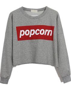 Grey POPCORN Print Round Neck Crop Sweatshirt US$24.40  @Caroline Swiercz