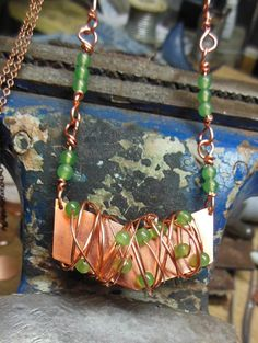Chevron Wrapped with Copper and beautiful green by Centsations, $40.00