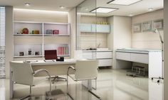 Veja um consultório com acabamento Branco e Noce Mare