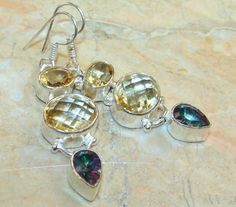   Citrine Earrings With Mystic Quartz : Wholesale Mystic Quartz Earrings India  