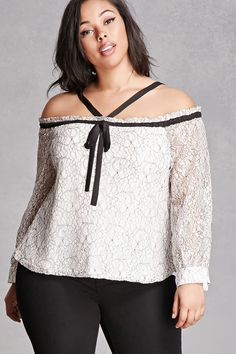 Plus Size Embroidered Lace Top