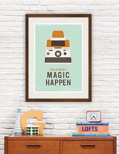 Geekery quote print, polaroid poster, vintage camera illustration, hipster print, retro modern art, make magic happen 8x10 or A4