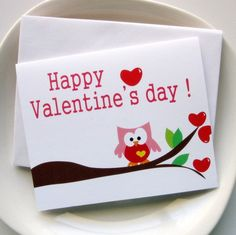 valentine card set 6 Happy Valentine's day Owl Card by Mariapalito, $12.00