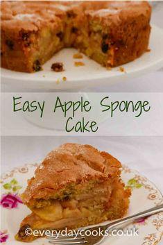Easy to make, a moist fruity Apple Sponge Cake for pudding or tea. Apple Cake Recipes, Easy Cake Recipes, Sweet Recipes, Baking Recipes, Dessert Recipes, Apple Cakes, Xmas Recipes, Apple Sponge Cake, Healthy Homemade Bread