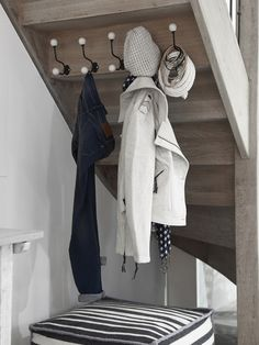 under the stairs closet hooks