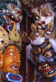 The cham mask. The cham dance is a lively masked and costumed dance associated with some sects of Buddhism, and is part of Buddhist festivals.