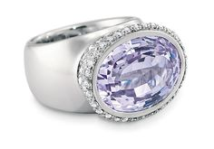 Kunzite, diamond and platinum ring by Fillner AG