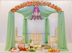 Suhaag Garden, Mint Green Chiffon Drapes, Florida Indian Wedding, California Indian Wedding, Miami, Fabric Mandap